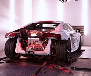 Audi R8 V10 Plus on the Dynamometer