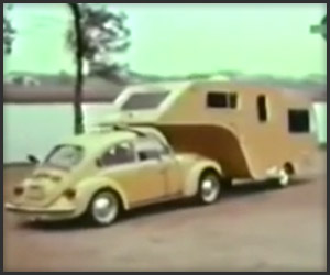 Camping with a VW Beetle and a 5th-Wheel Camper