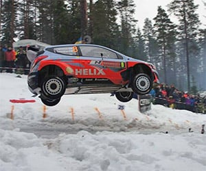 Jumping Colin's Crest at Rally Sweden 2014