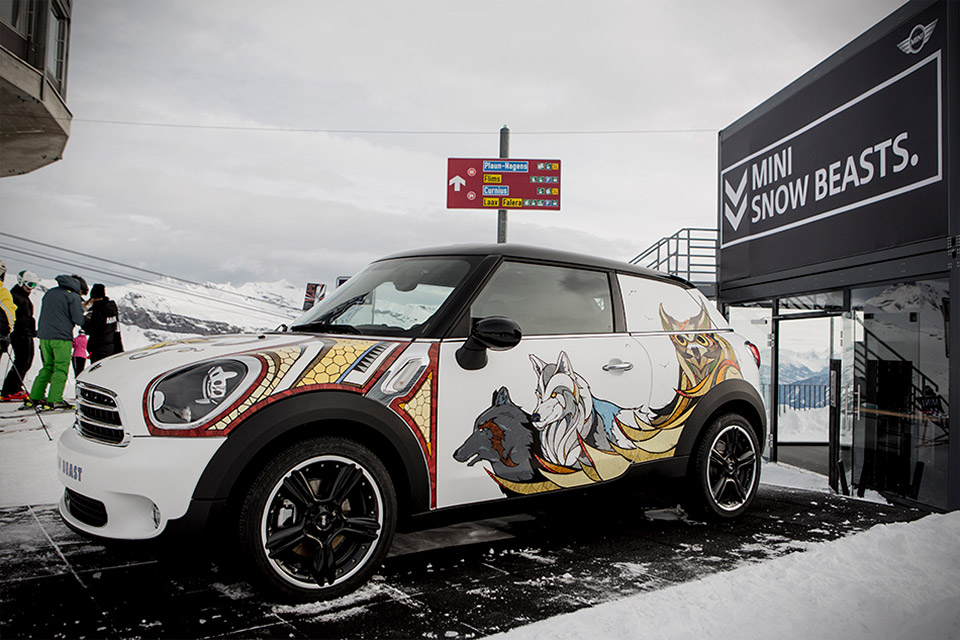 mini paceman embellished with snow beasts 95 octane. Black Bedroom Furniture Sets. Home Design Ideas
