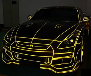 TRON Nissan GT-R Lights up The Chinese Night