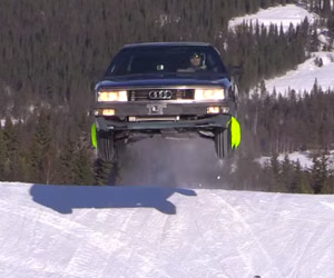 Audi 200 Snow Drifting and Jumping