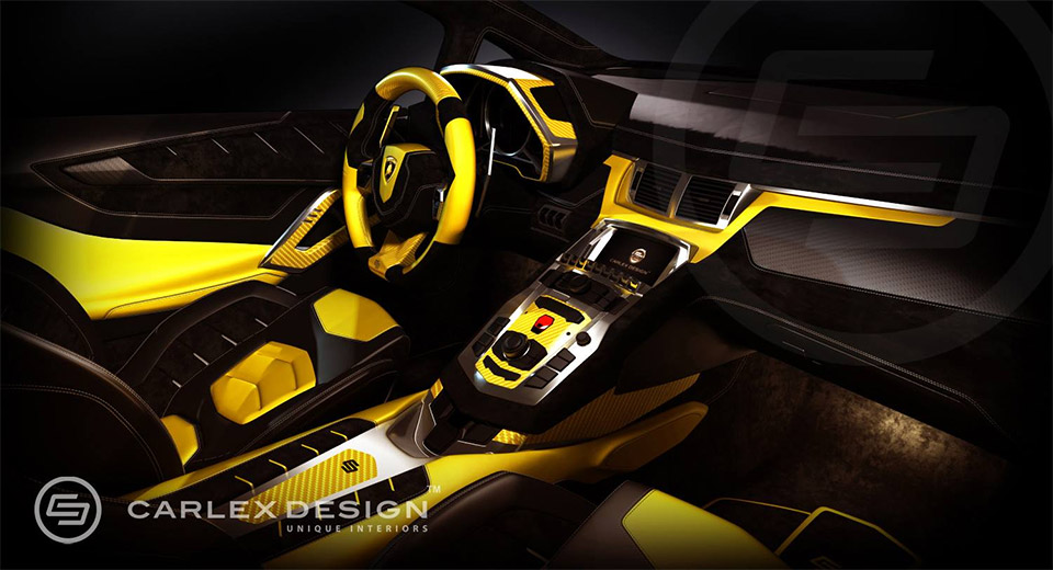 lamborghini yellow bull interior reworked by