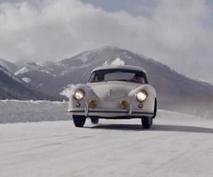 A Porsche 356 Climbs a Snowy Pikes Peak