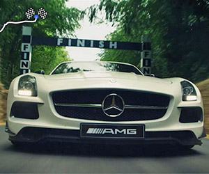 Tackling the Goodwood Hill Climb in an SLS AMG Black