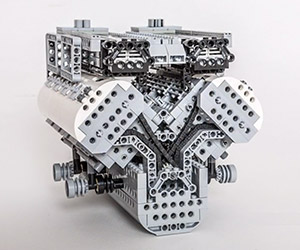 Bugatti Veyron W16 Engine Rendered in LEGO