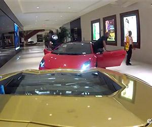 Driving Five Lamborghinis Through a Shopping Mall