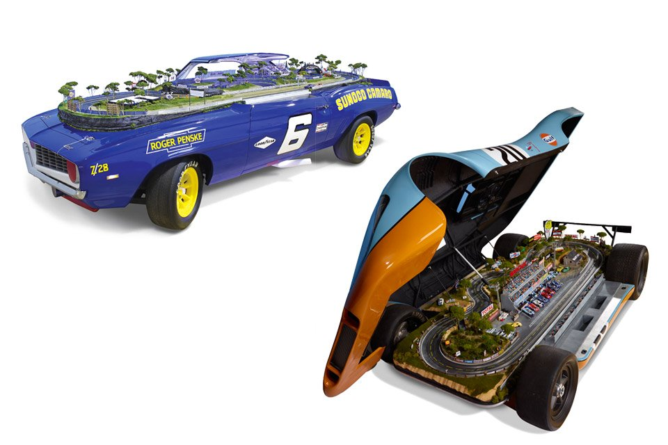 Porsche 917 or Camaro Z28 with Hidden Slot Car Track