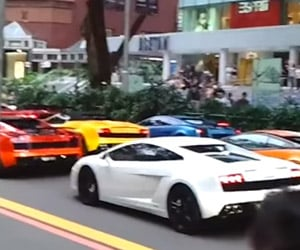 A Lamborghini Traffic Jam in Singapore