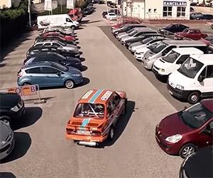1986 Skoda 130 Hoons Through a Parking Lot