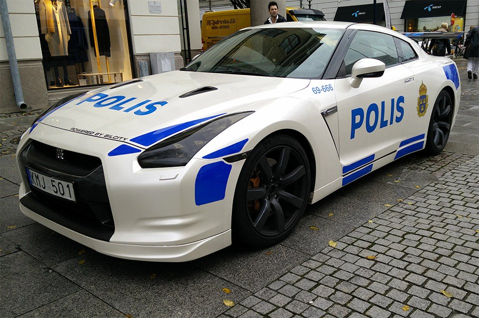Nissan Gt R Fake Police Car Rolls Into Sweden