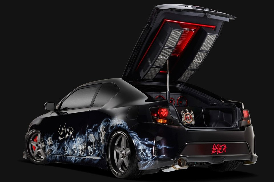 Slayer's Awesome Scion tC Sound System at SEMA