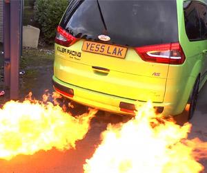 Minivan Shoots Massive Flames