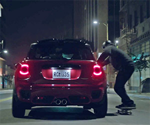 Tony Hawk Skitches Behind a MINI JCW