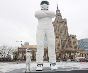 Giant Stig Statue Erected in Warsaw