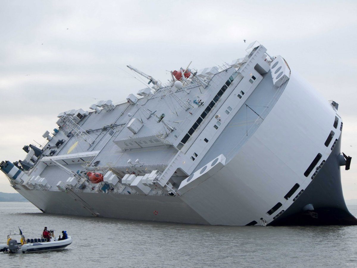 Sinking Car Carrier Packed with New Jags and Land Rovers
