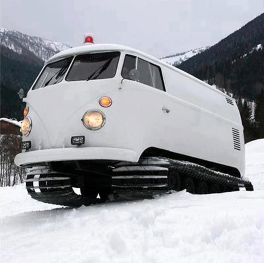 Volkswagen Bus Becomes A Snow Conquering Snowcat