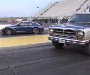 Watch a 650hp Dodge RAM Pickup Smoke a GT-R