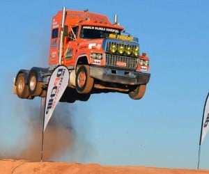 Big Rig Catches Massive Air