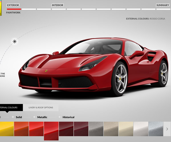 Ferrari 488 GTB Configurator Goes Live