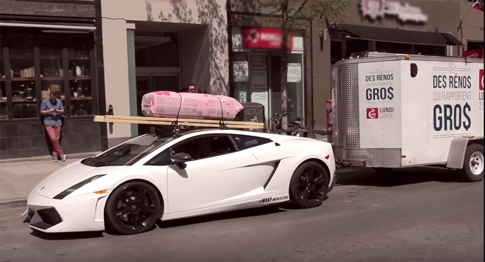 Lamborghini Gallardo Tows a Trailer and Building Materials