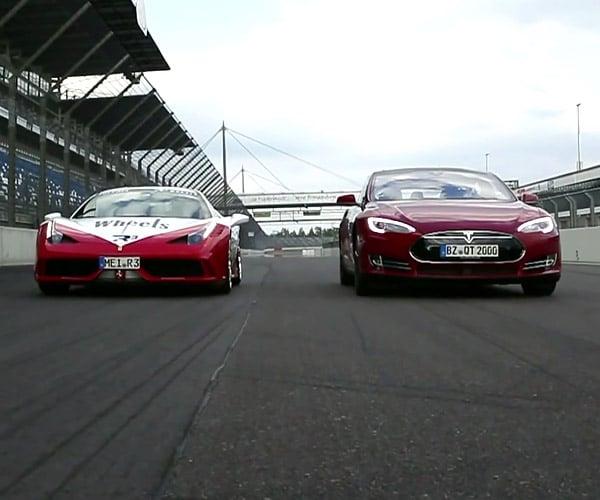 Tesla Model S P85D vs. Ferrari 458 Speciale Drag Race