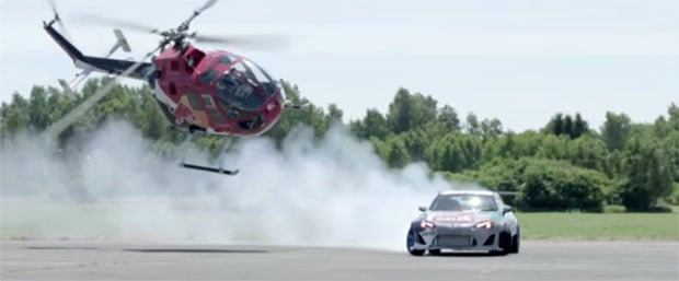 Baumgartner Flies Helicopter Insanely Close to Drifting Toyota