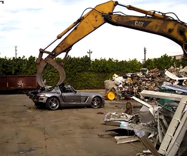 Mercedes SLS AMG Gets Crushed