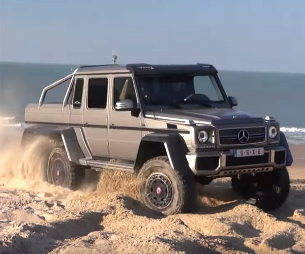 A Mercedes-Benz G63 AMG  6×6 Tears up a Beach