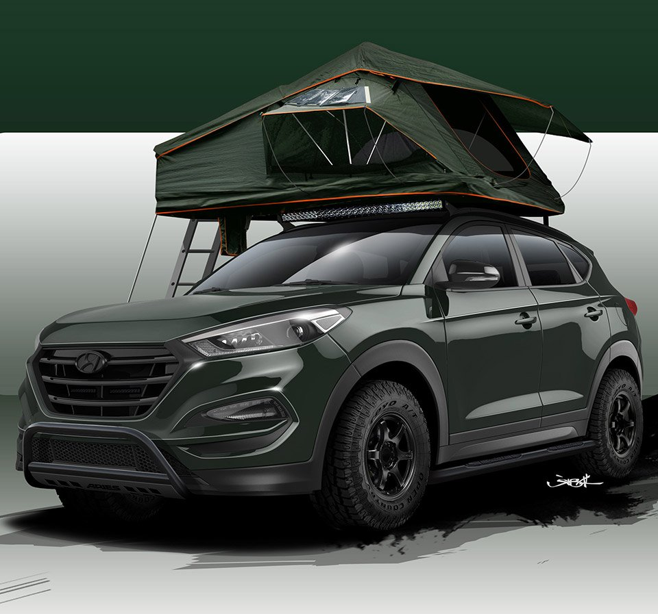 Hyundai Tucson Adventuremobile Has Solar Panels and a Roof Tent