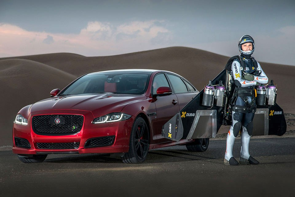 Drag Race: Jaguar XJR vs. Jet Suit