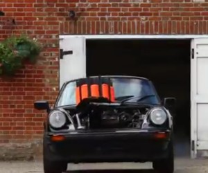 Man Shoots Clay Targets Fired from a 911 Targa