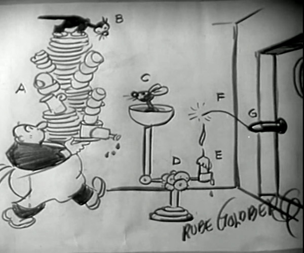Vintage Rube Goldberg Clip Explains Gas Engines