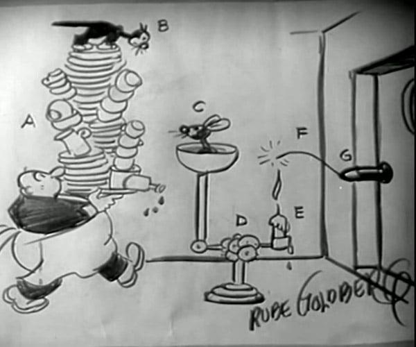 Vintage Rube Goldberg Clip Explains Gas Engines