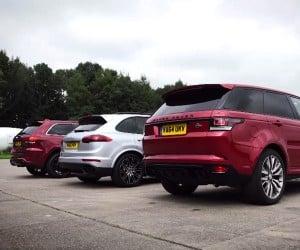 Three-Way SUV Drag Race: Porsche vs Jeep vs Range Rover