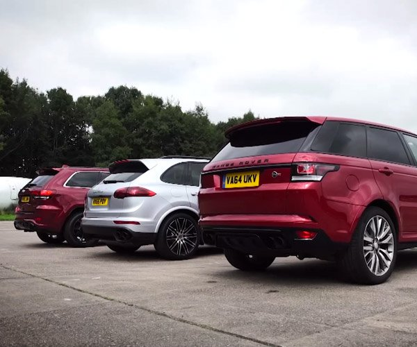 Three-Way SUV Drag Race: Porsche vs Jeep vs Range Rover