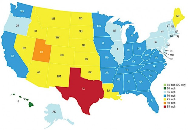 Speed limits by state. Photo: IIHS
