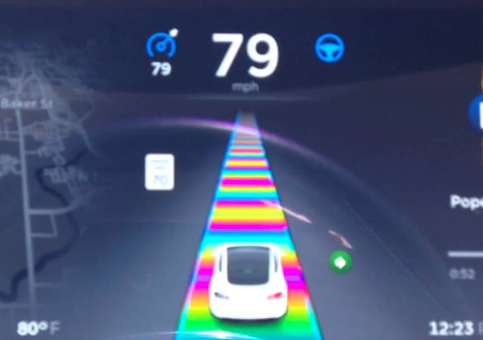 Tesla Easter Egg Puts Drivers on Mario Kart's Rainbow Road