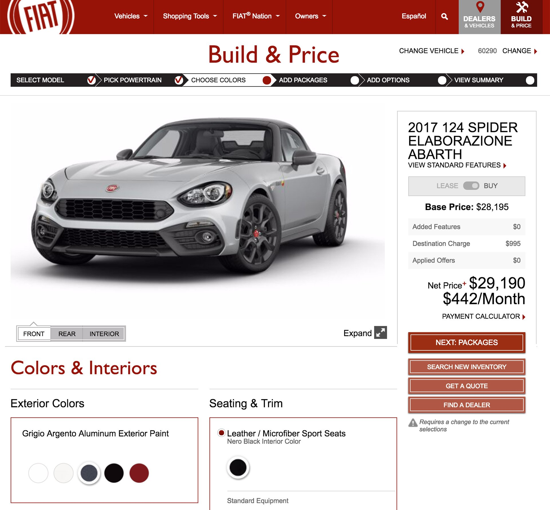 FIAT 124 Spider Configurator Goes Live; Where's My Matte Hood?