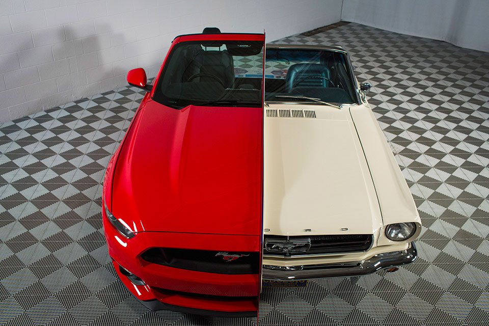 Ford Conjoins a 1965 and 2015 Mustang
