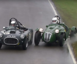 Rainy Racing as Two 1950s Sports Cars Fight to the Finish