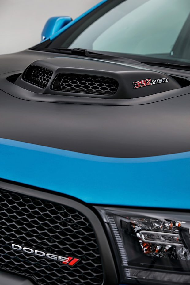 The B5 Blue three-row SUV features a custom-fabricated, functional Shaker Hood — the first-ever for a Dodge Durango.