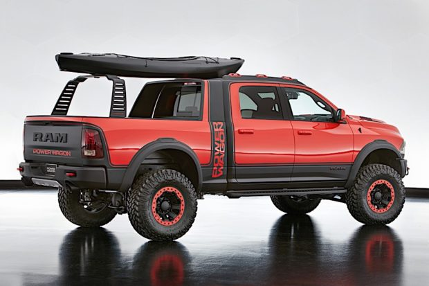 Adaptability is showcased in the 6-ft. x 4-in. bed of the Ram Macho Power Wagon, where a Mopar concept Satin Black accessory sliding RamRack securely stores toys to fit a variety of lifestyles.