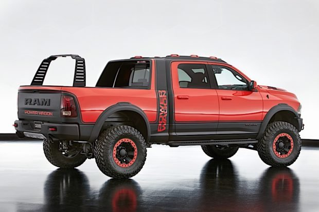The Mopar concept sliding RamRack of the Ram Macho Power Wagon is adjustable and designed to neatly slide up and stow under the cab's sail panel when not in use.