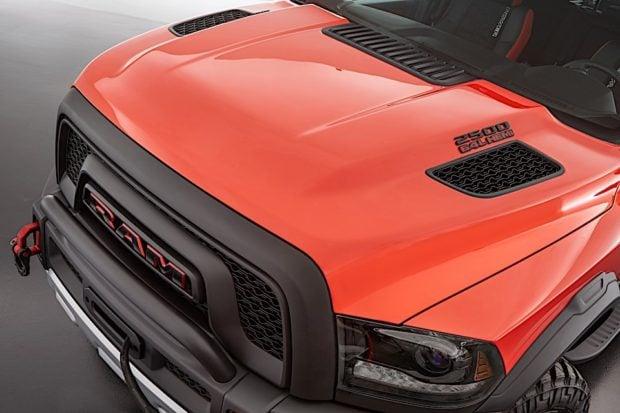 The concept, aggressive hood of the Ram Macho Power Wagon.