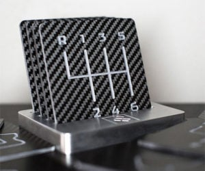 Carbon Fiber Coasters with Manual Shift Pattern: Row Your Own Drinks