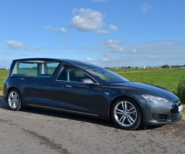 De Remetz Tesla Model S Hearse Keeps you Green to the Grave