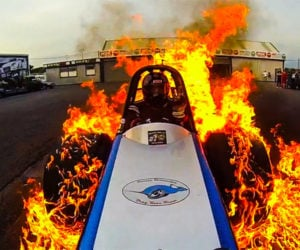 Dragster Does Burnout with Tires Ablaze