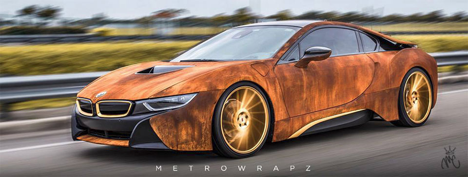 Rust Wrapped Bmw I8 on electric cars in florida
