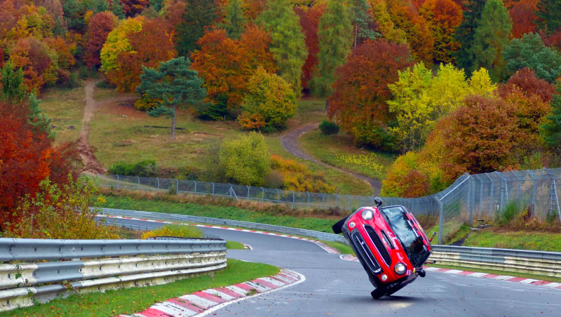 Mini Driver Does Nürburgring Lap on Two Wheels